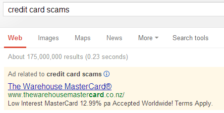 manage adwords to not get found for credit card scams