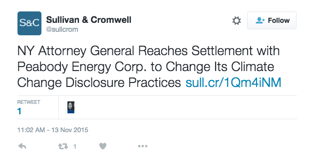 Jay Clayton's law firm, Sullivan & Cromwell, Tweeted about the 2015 memo on the investigations into ExxonMobil and Peabody Energy's misleading climate change disclosures by New York attorney general.