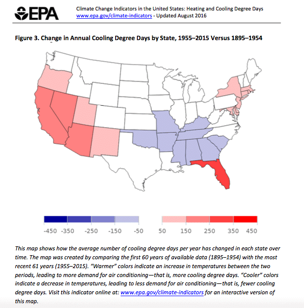 Change in annual cooling degree days by state, 1955 - 2015 vs. 1895 - 1954 (EPA)