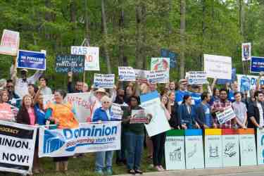 Protesters rallying against Dominion's proposed Atlantic Coast pipeline. Credit: Chesapeake Climate Action Network.
