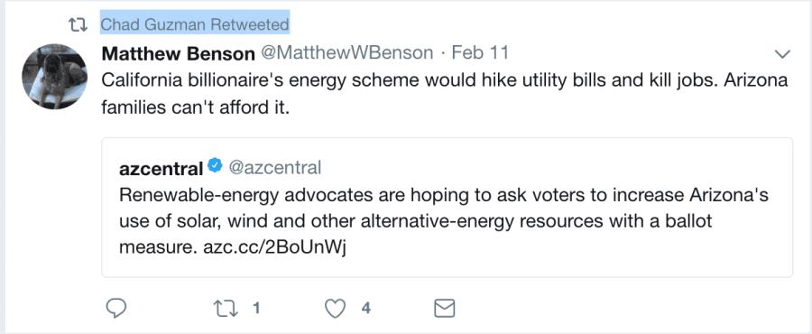 Screenshot of Matthew Benson tweet attacking renewable energy initiative