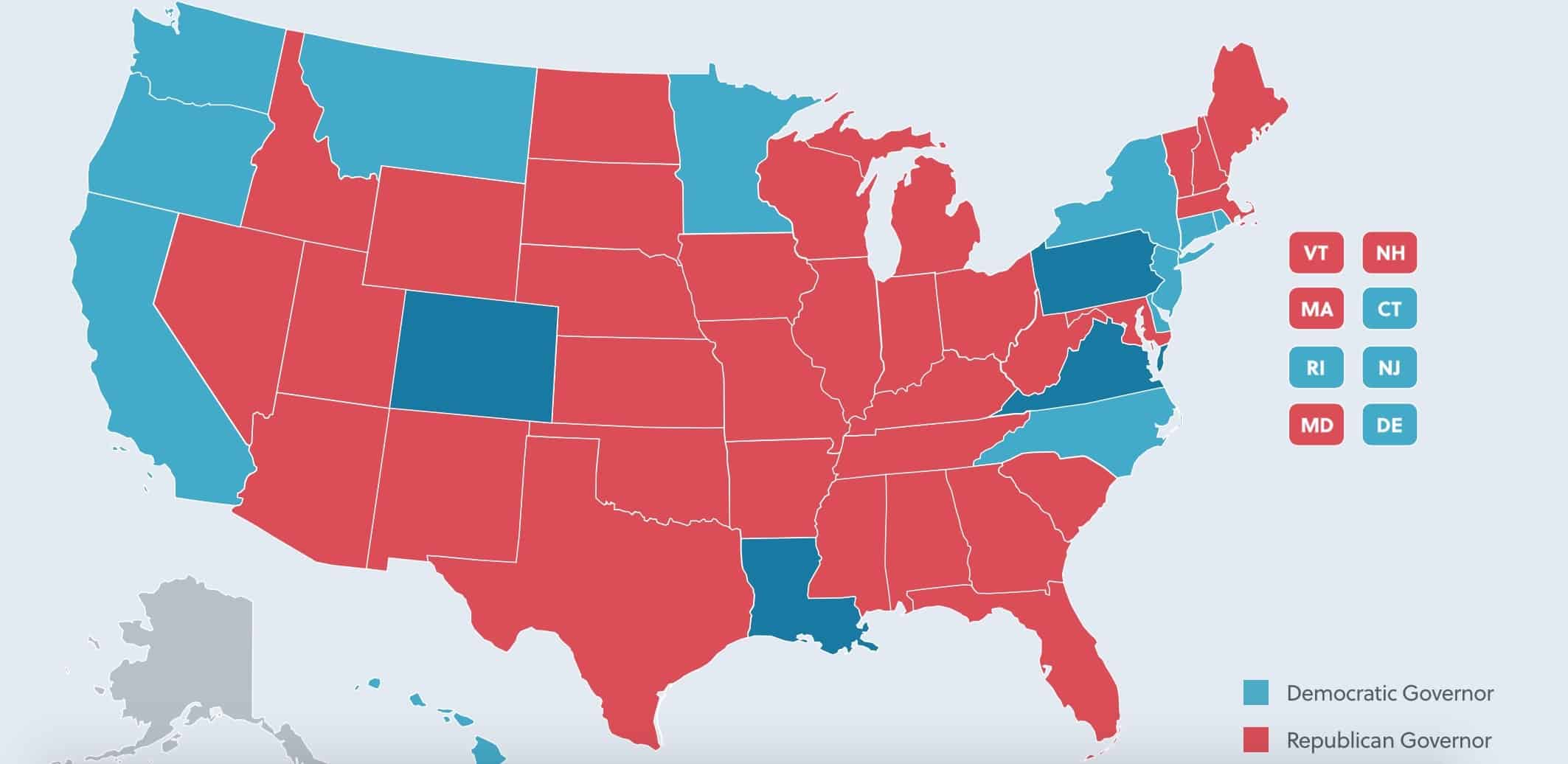 2018 Political Map of the U.S. Governor Races