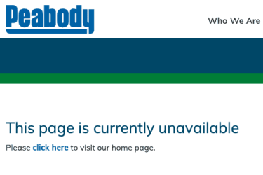 Clean coal awards page was deleted from Peabody Energy's website