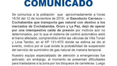 Photo of Comunicado de YPFB sobre caída de presión en gasoducto Carrasco-Cbba