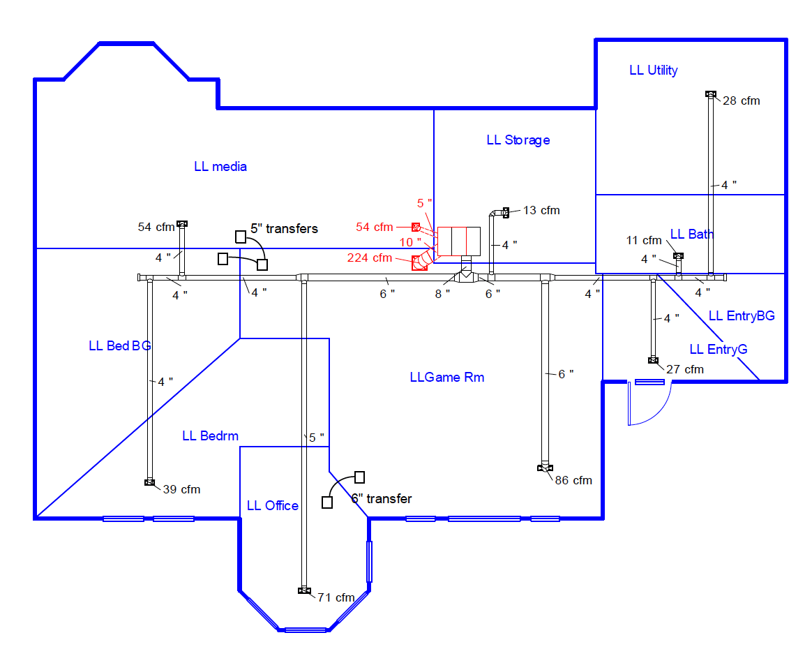 duct design schematic diagram showing vents and air flow [ 1164 x 940 Pixel ]