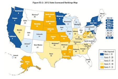 Aceee 2012 State Energy Efficiency Scorecard Map Georgia