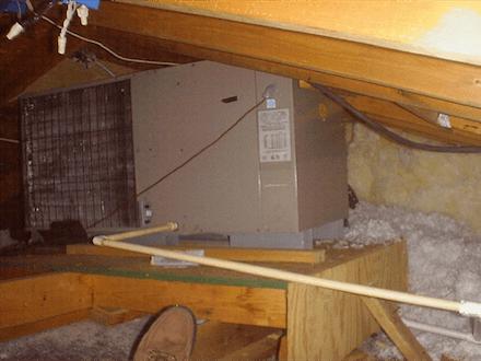 Hvac Air Conditioner Condensing Unit In Attic 1 Small
