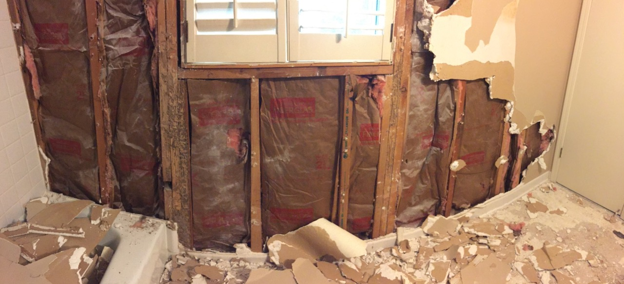 Exterior Wall Exposed During A Bathroom Renovation