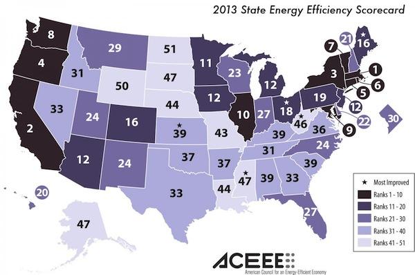 ACEEE State Energy Efficiency Scorecard Map 2013 600