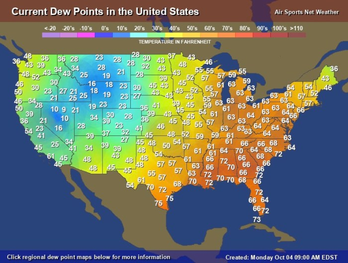 Dew point map of the United States, 4 Oct. 2021
