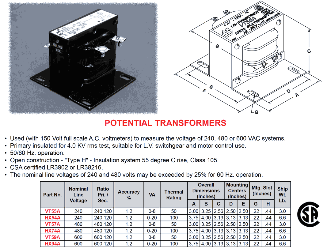 hight resolution of potential transformer 240v 120v 50va class 105 type