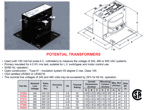 small resolution of potential transformer 240v 120v 50va class 105 type