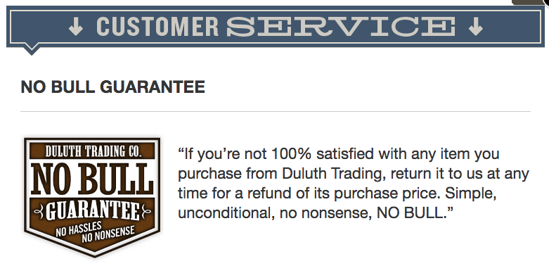 Duluth Trading's No Bull Guarantee