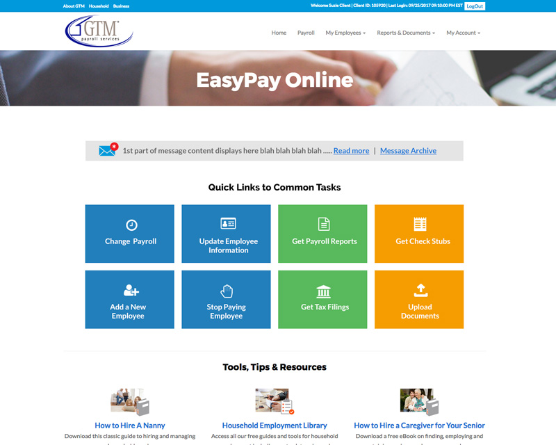 EasyPay Online Home Page update