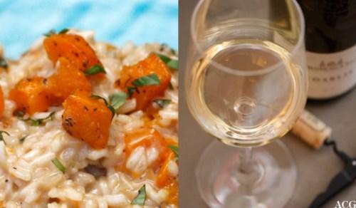 risotto med gresskar/et glass hvitvin