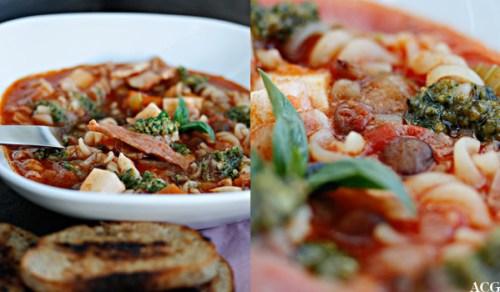 to bilder av minestronesuppe med pesto