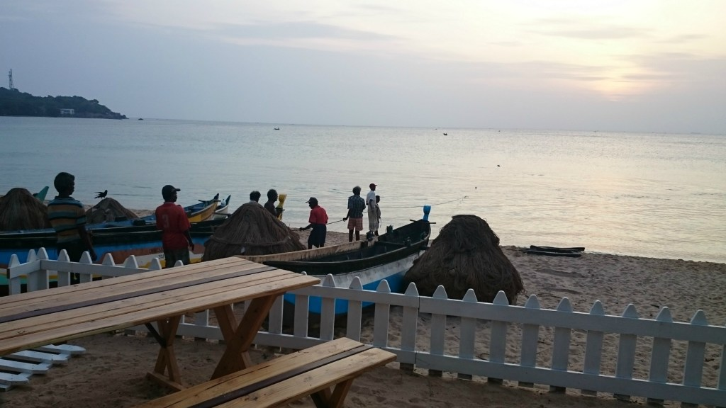 Fishermen at Sri Lanka bounty beach in Trincomalee