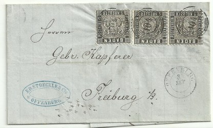 Baden 1862 1k.Black x3