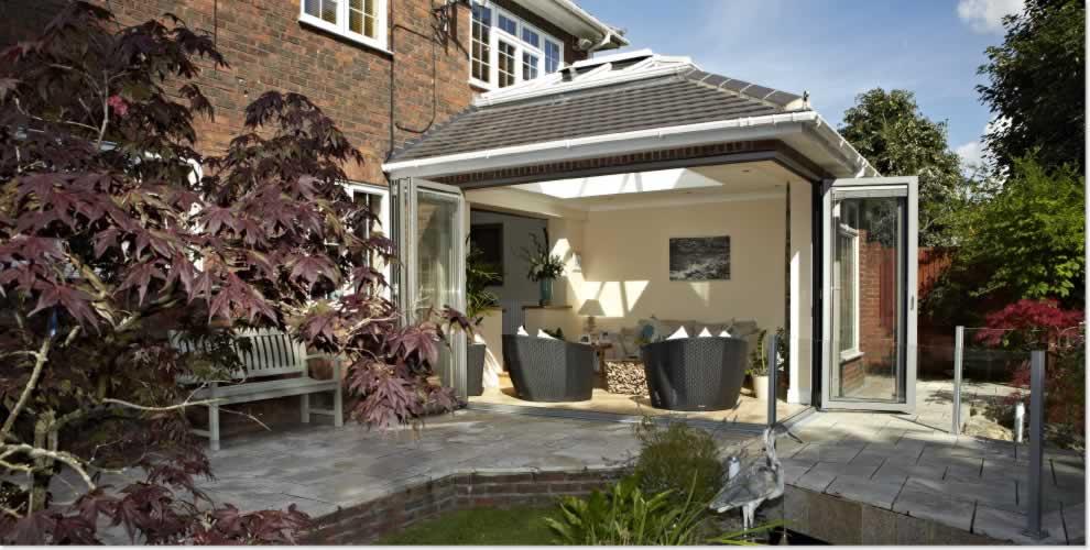 double glazed kitchen doors stainless steel appliance set aluminium bi-fold enfield | north london