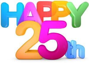 Cartoon saying Happy 25th