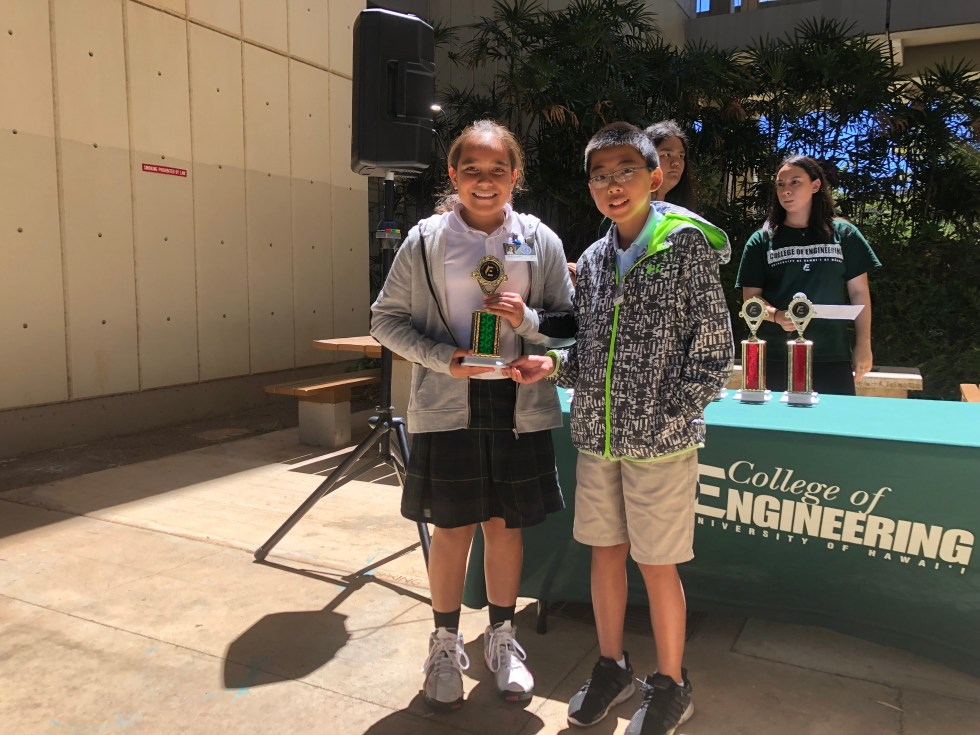 A Pair Of Students With Trophies Posing For A Photo.