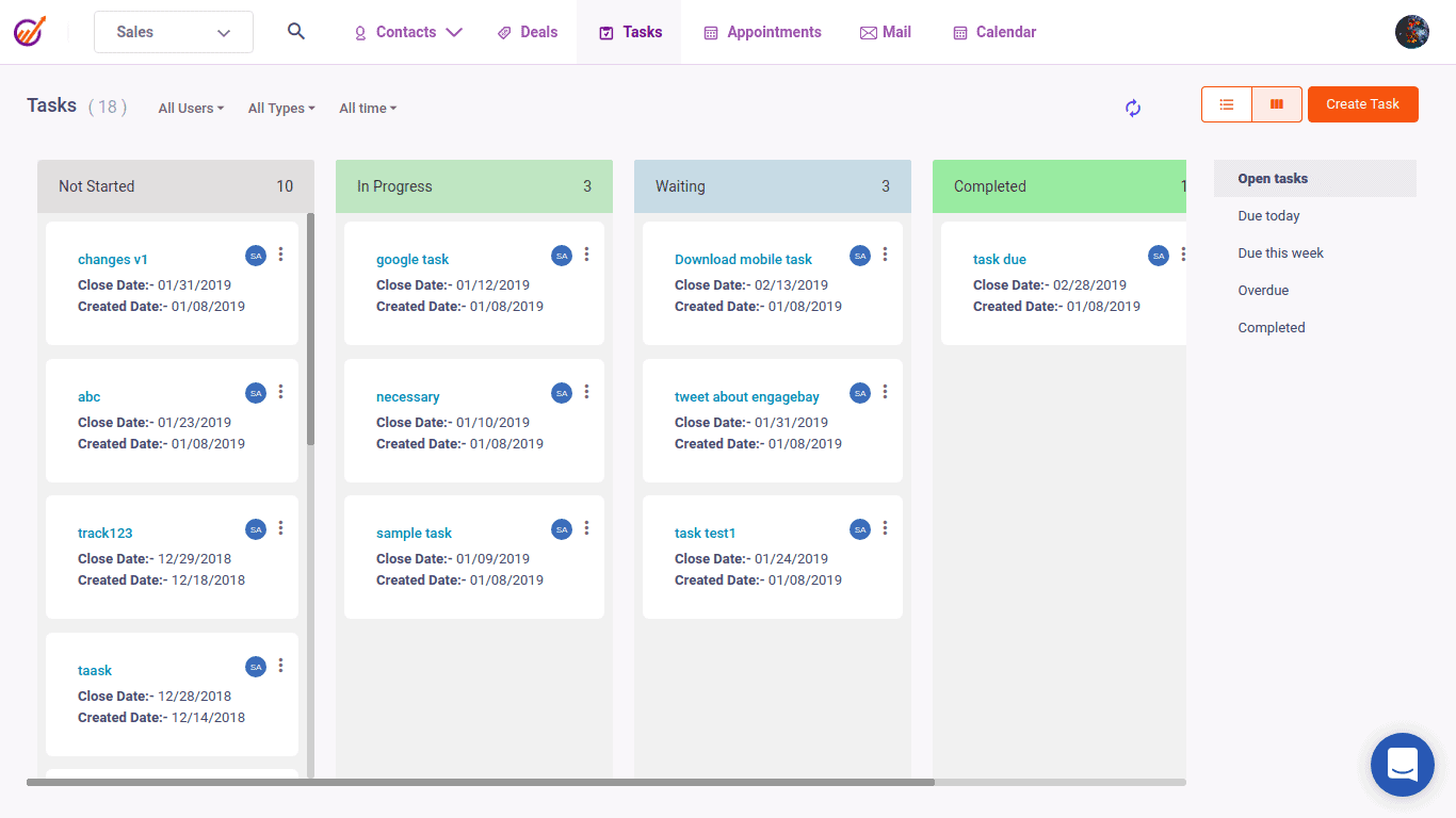 engagebay project management tool