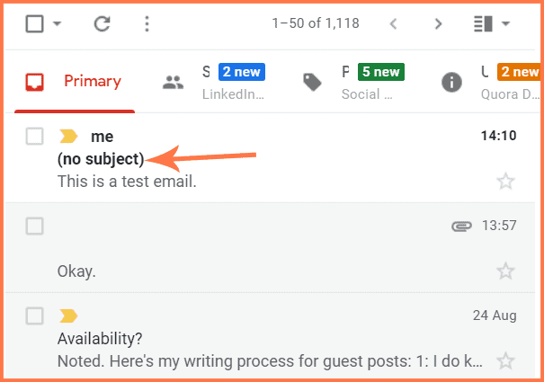email without subject line