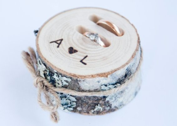 rustic wood log ring box