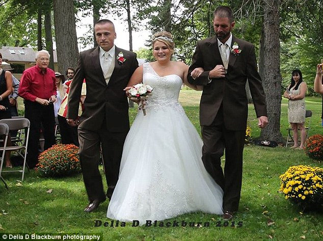 Dad and step dad walk bride down the aisle
