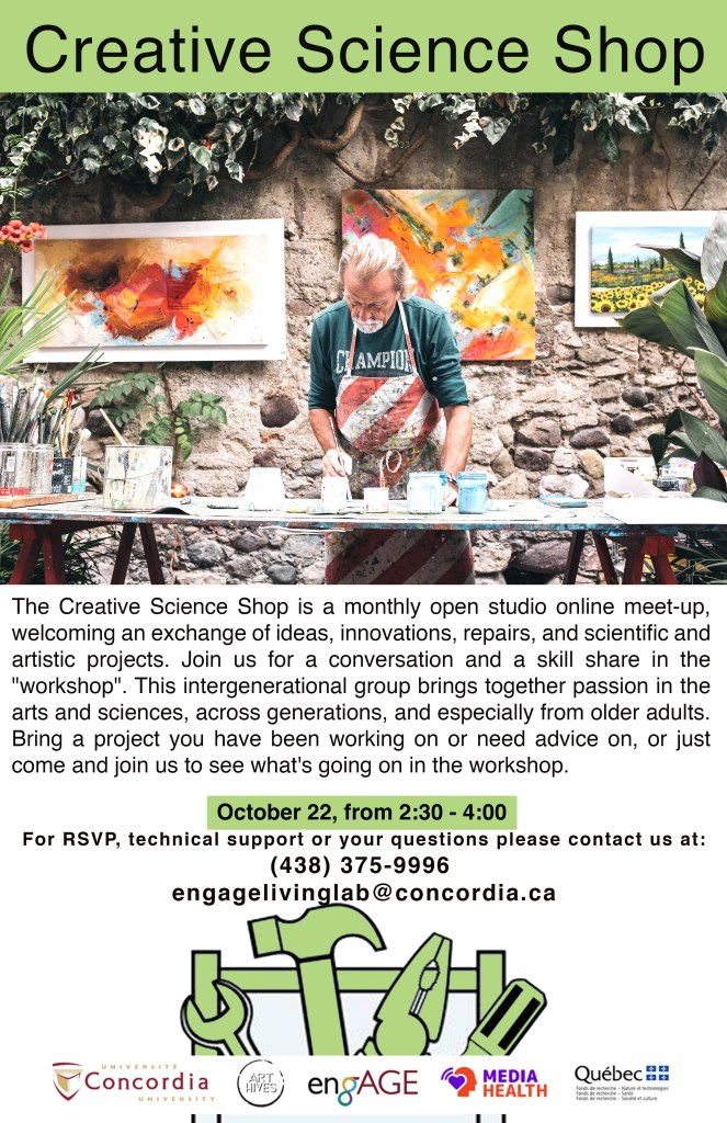 Poster depicting an older man working with tools, paint on what seems to be an art project. Several paintings on the wall behind him.