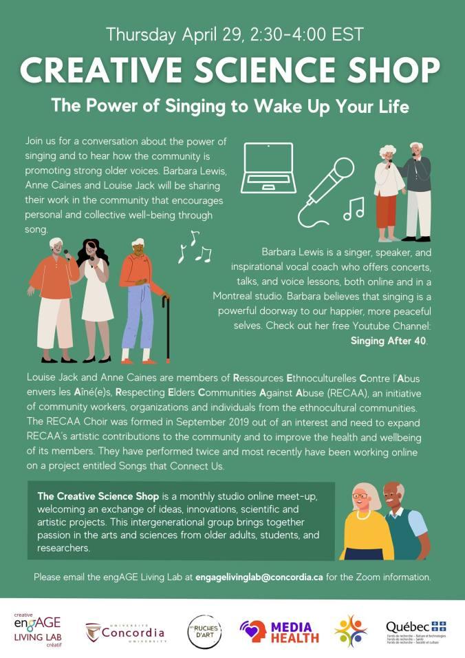 Poster depicting seniors singing, musical notes, a laptop