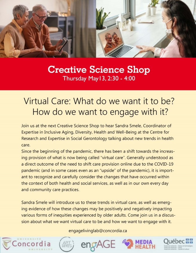 Poster depicting virtual care, seniors in a computer talking to someone. Another person on a computer