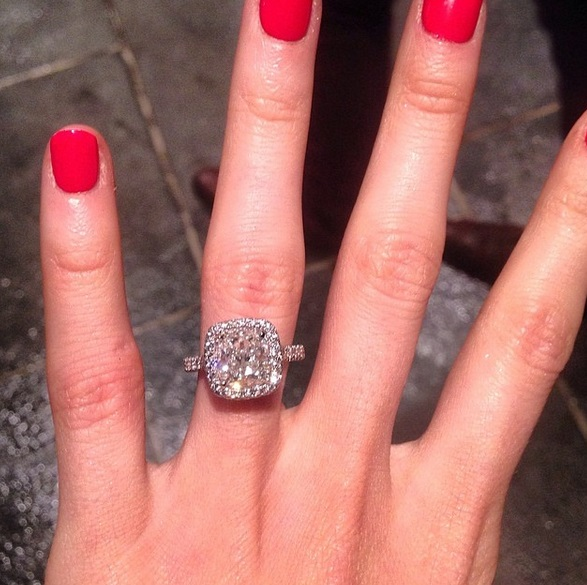 Katherine Webb S Platinum 5 Carat Cushion Cut Diamond Ring