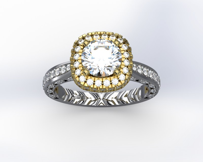 Accufine Air Diamond Halo Engagement Ring 590