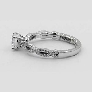 Diamond Engagement ring with cross over band in White Gold Side view