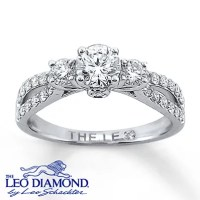14k White Gold Engagement Ring with Leo Diamonds ...