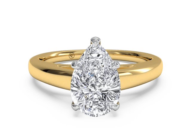 X O Solitaire Engagement Ring In 18kt Yellow Gold