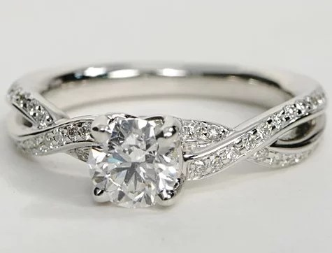 Twisted Pave Band Engagement Ring In 14k White Gold