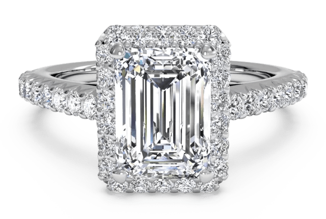 FrenchSet Halo  Pave Engagement Ring in 14k White Gold