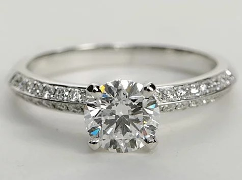 Knife Edge Double Row Pave Engagement Ring In 14k White