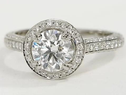 Vintage Halo Pave Engagement Ring In Platinum Engagement