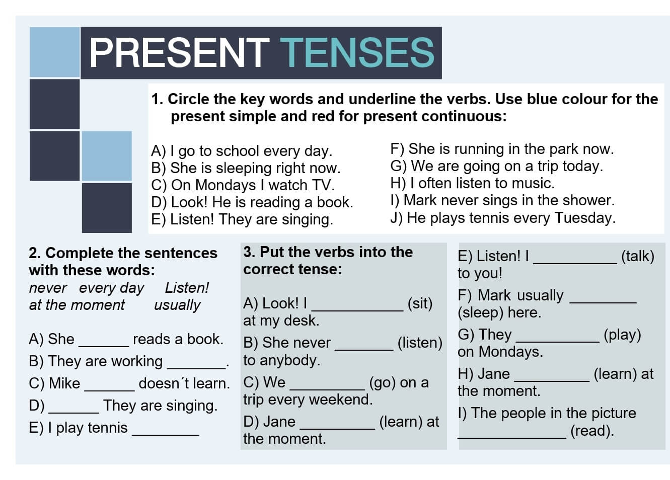 English Grammar Present Tense Exercises