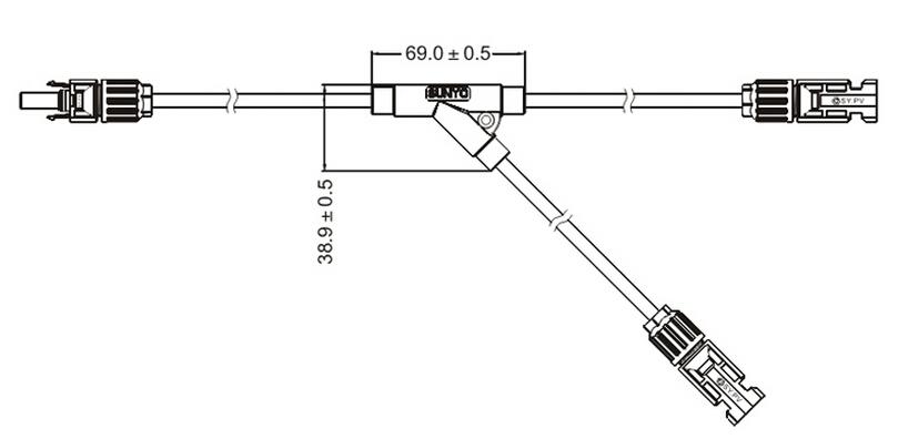 MC4 Y cable Branch 2-1