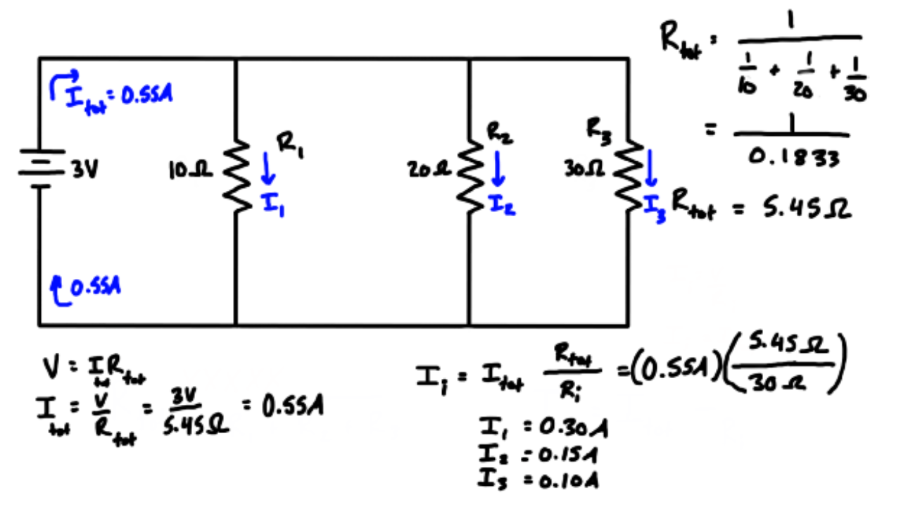 How Current Division Works (Parallel Resistors