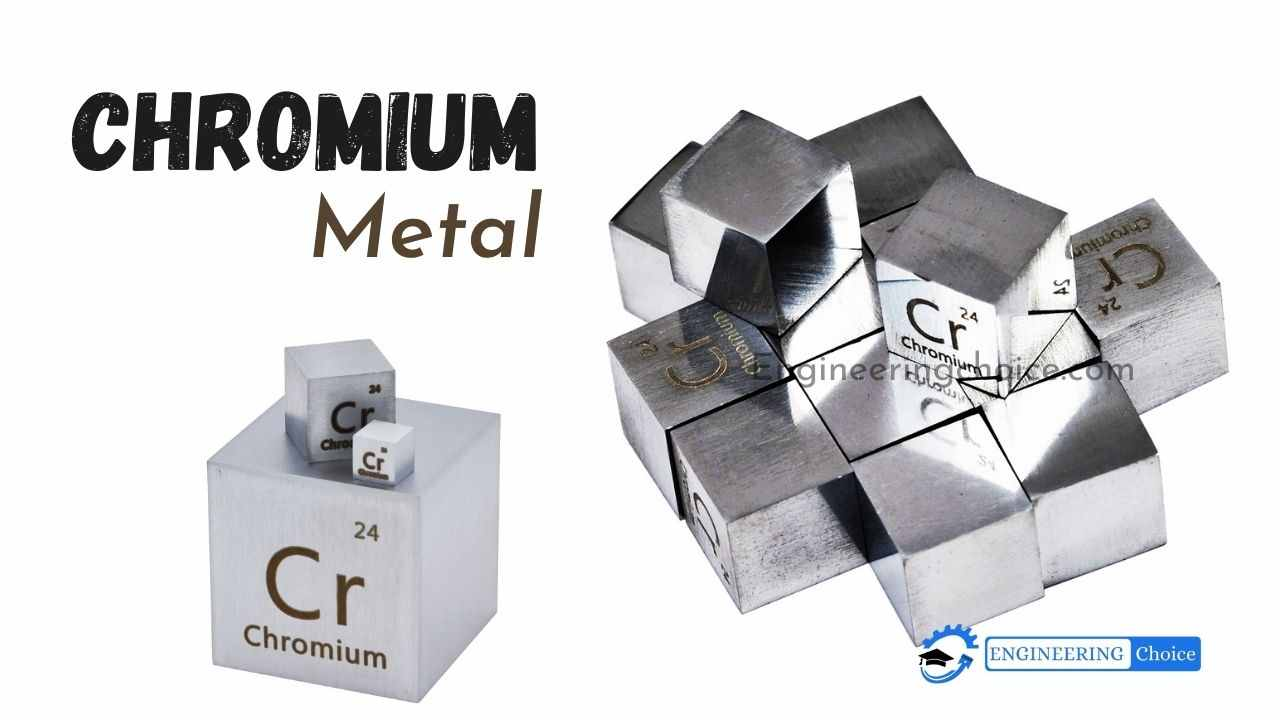 Chromium is a chemical element with the symbol Cr and atomic number 24. It is the first element in group 6. It is a steely-grey, lustrous, hard, and brittle.
