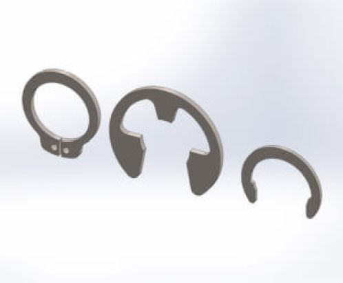 """An E-ring or ring clip is a type of circlip that's pushed on or off a grooved shaft without the need for a special tool. All circlips are similar to a """"C"""""""