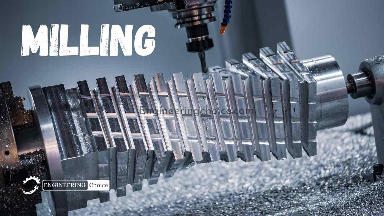 Milling is the process of machining using rotating cutters to remove material by advancing a cutter into a workpiece.
