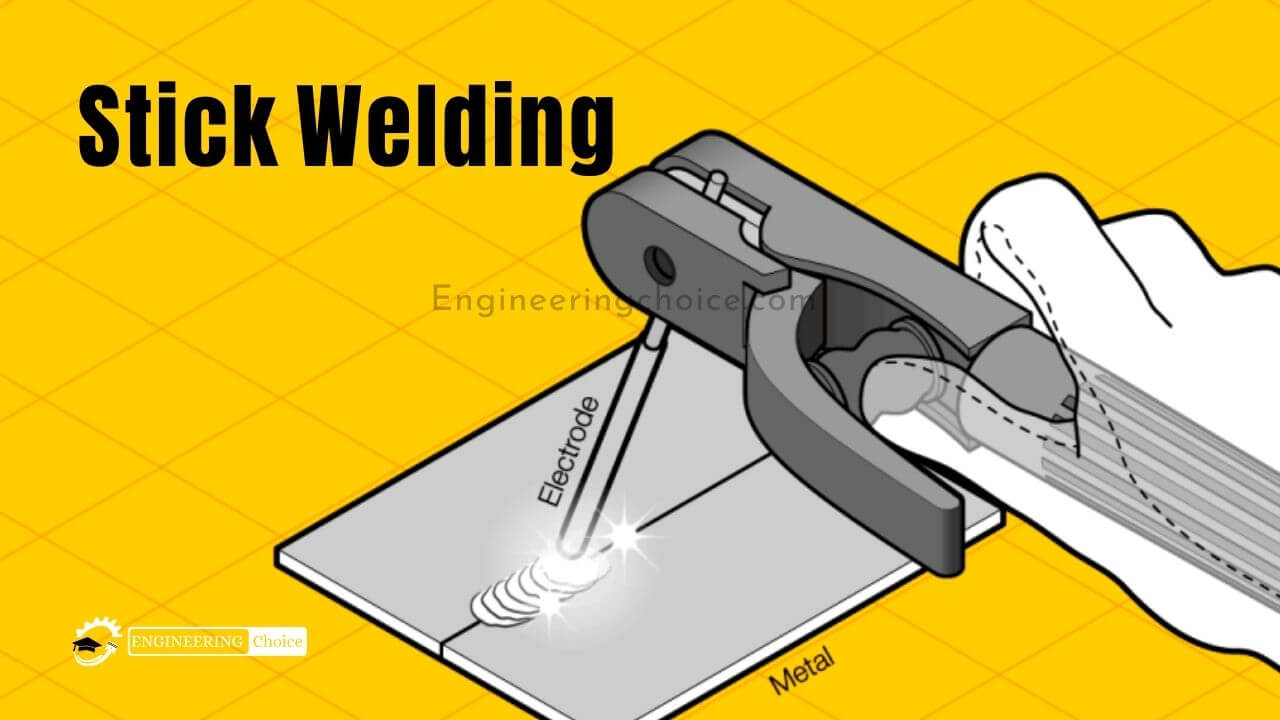 Stick welding is performed by striking an electric arc between a metal electrode and the workpiece. An electric current passes through the electrode and melts it into the workpiece and forms a weld pool.