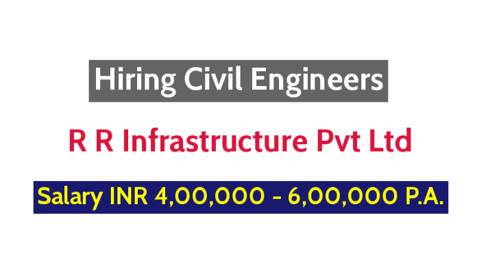 R R Infrastructure Pvt Ltd Hiring Civil Engineers - Salary INR 4,00,000 - 6,00,000 P.A.