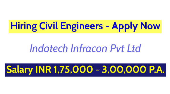 Indotech Infracon Pvt Ltd Hiring Civil Engineers Salary INR 1,75,000 - 3,00,000 P.A. Apply Now